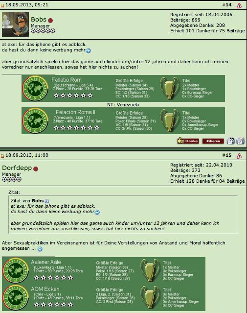 Auszug einem Forum bzgl. Pop-up Werbung auf xxx-Seiten